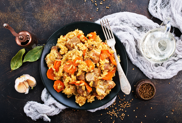 Fried Rice with Vegetables and Meat - Stock Photo - Images