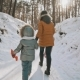 Back View Mother and Daughter Walk in Winter Park. Family Fun in - VideoHive Item for Sale