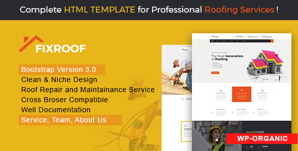 Image of FixRoof - Roofing Renovation and Maintenance Service Repairing HTML Template