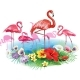 Flamingoes and Arrangement From Tropical Flowers - GraphicRiver Item for Sale