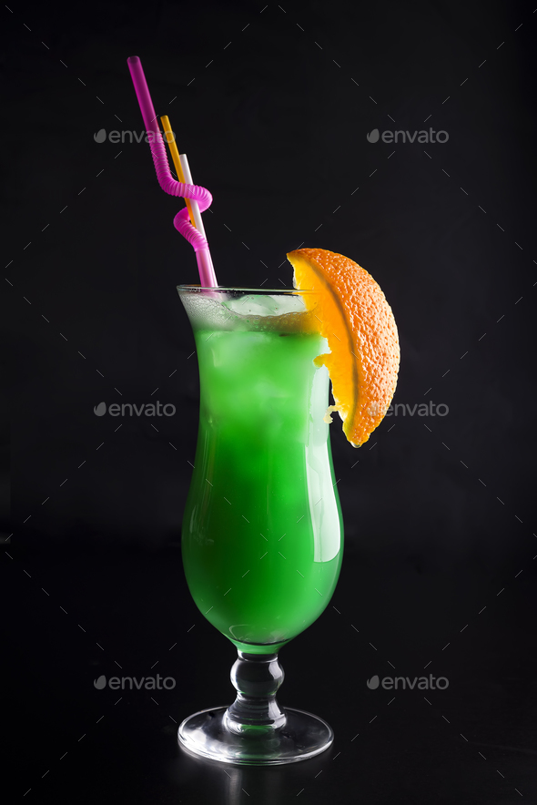 fresh modern coctail on the black background - Stock Photo - Images