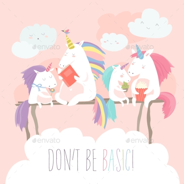 Unicorn Reading Book with Friends - Miscellaneous Vectors