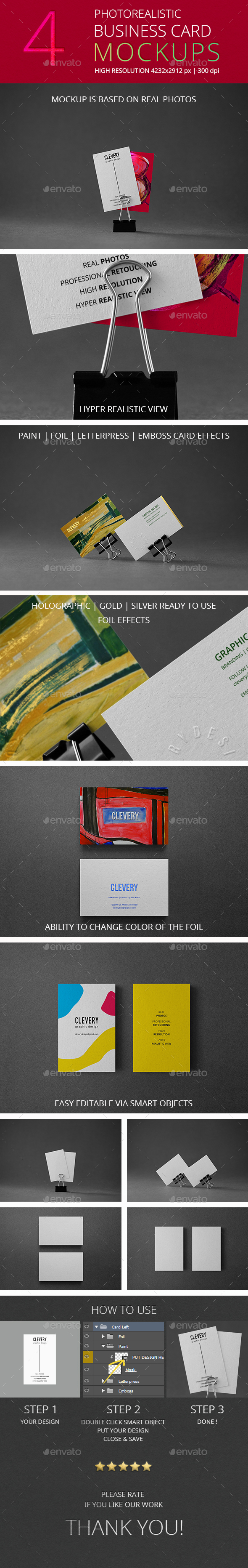 Photorealistic Business Card Mockup Vol 3.0 - Business Cards Print