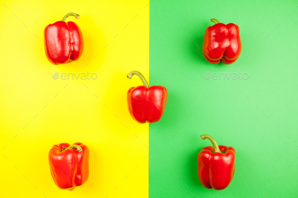 Top view on five fresh sweet red peppers - Stock Photo - Images