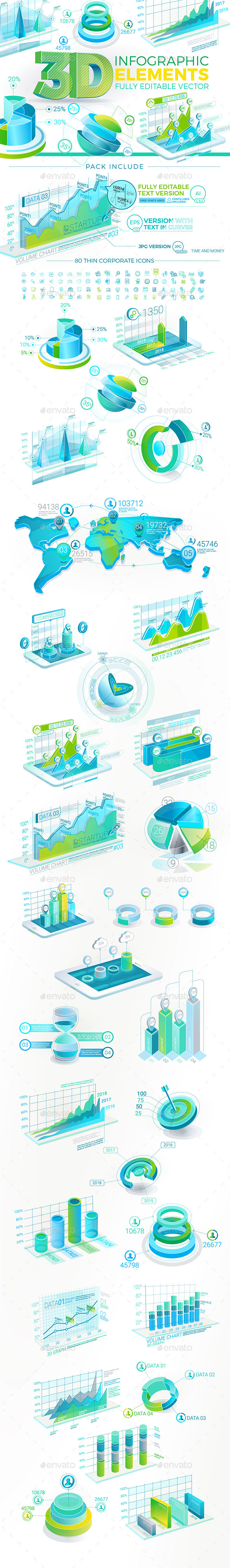 3D Corporate Infographic Elements - Infographics