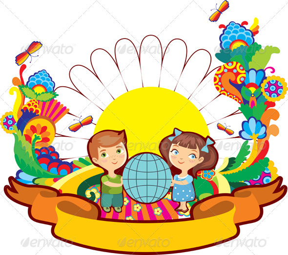 Children World Flower Label Isolated - People Characters