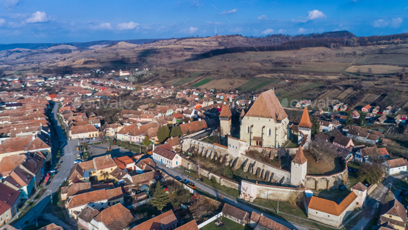 Biertan fortified church in Transylvania, Romania. - Stock Photo - Images