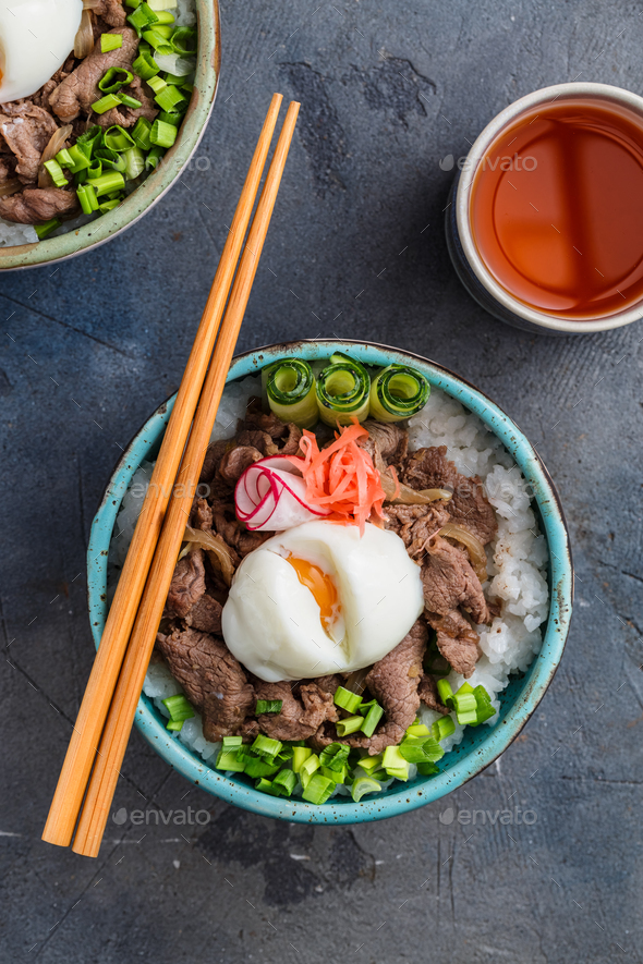 Gyudon japan cuisine beef and rice bowl top view - Stock Photo - Images