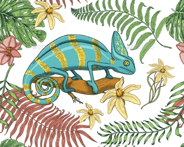 Chameleon Lizard, Tropical Flowers, Seamless - Animals Characters