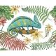 Chameleon Lizard, Tropical Flowers, Seamless