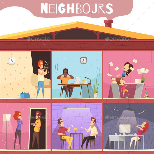 Neighbors Irritation Illustration - Buildings Objects