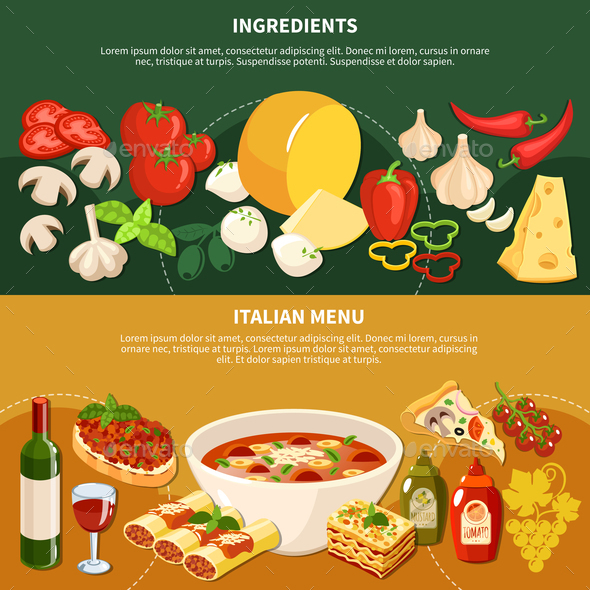Italian Menu Horizontal Banners - Food Objects