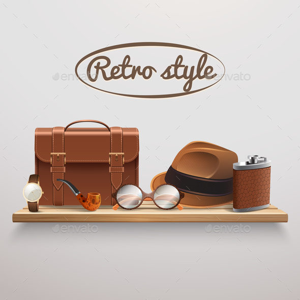 Gentleman Accessories Realistic Shelf - Business Conceptual