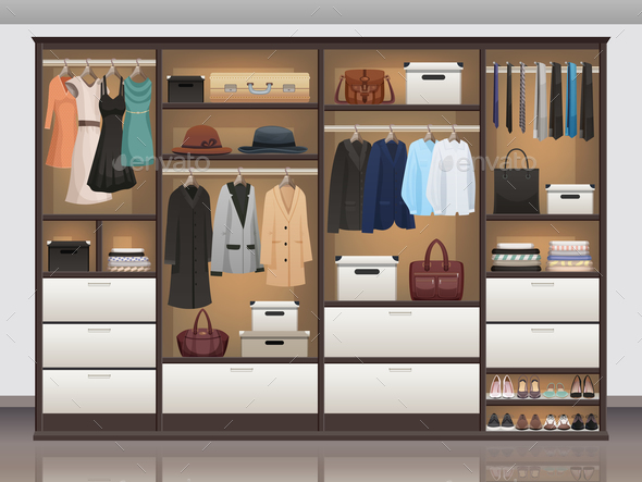 Wardrobe Storage Interior Realistic - Miscellaneous Vectors