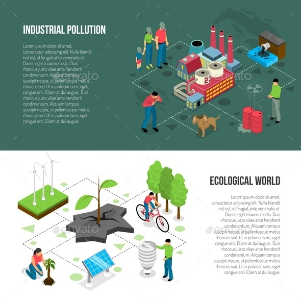 Ecology Isometric Horizontal Banners - Industries Business