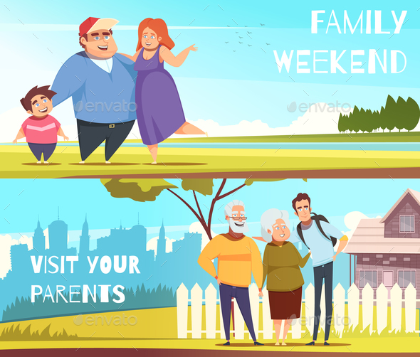 Families Horizontal Banners - People Characters