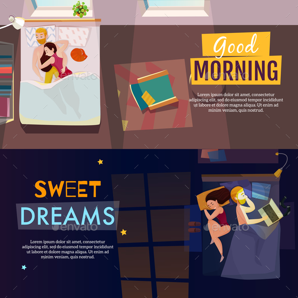 Sleeping Poses Banners Set - Backgrounds Decorative