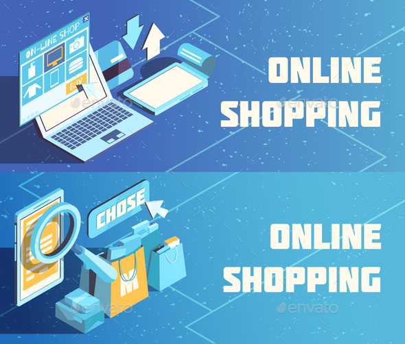 Online Shopping Isometric Banners - Business Conceptual