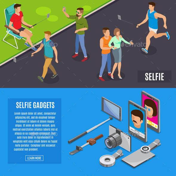 Social Photo Selfie Isometric Banners - People Characters