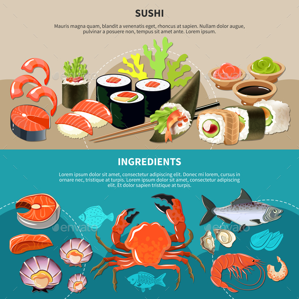 Sushi Flat Banner Set - Food Objects