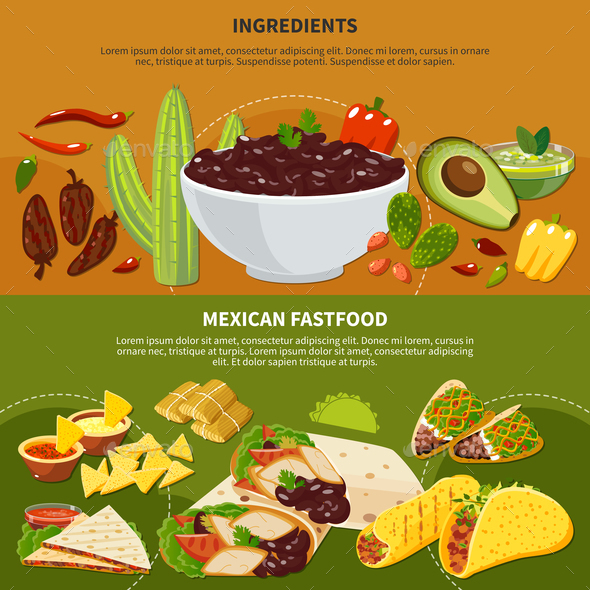 Ingredients Mexican Fastfood Banners - Food Objects