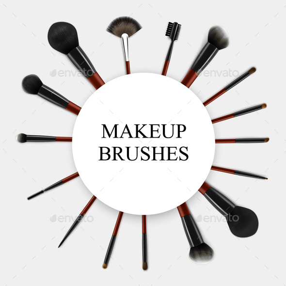Makeup Brushes Realistic Set Frame - Objects Vectors