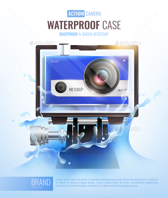 Action Camera And Waterproof Case Poster - Sports/Activity Conceptual