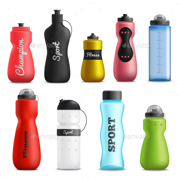 Fitness Drink Bottles Realistic Set - Sports/Activity Conceptual