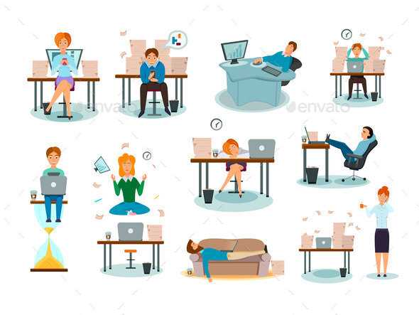 Procrastination Characters Cartoon Icons Set - People Characters