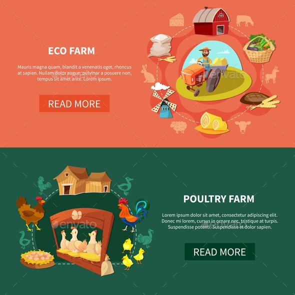 Farm Cartoon Banner Set - Food Objects