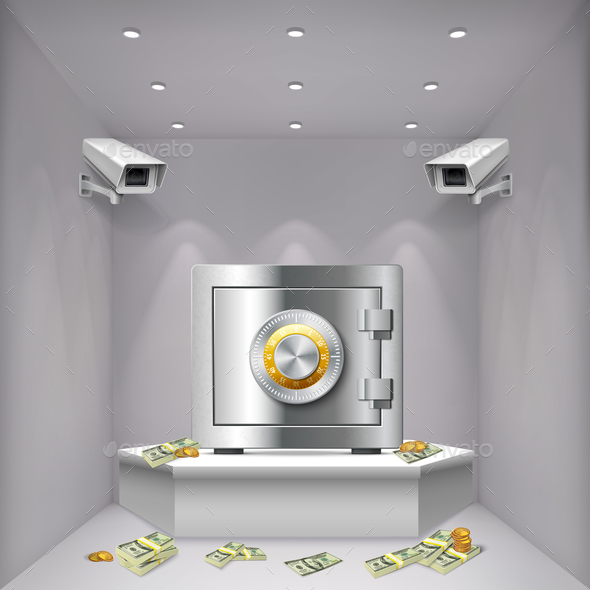 Surveillance Camera Realistic Background - Business Conceptual