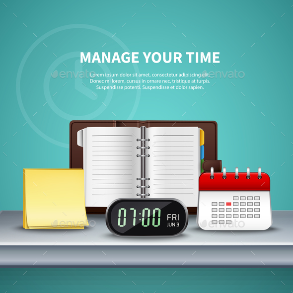 Time Management Realistic Colored Composition - Business Conceptual