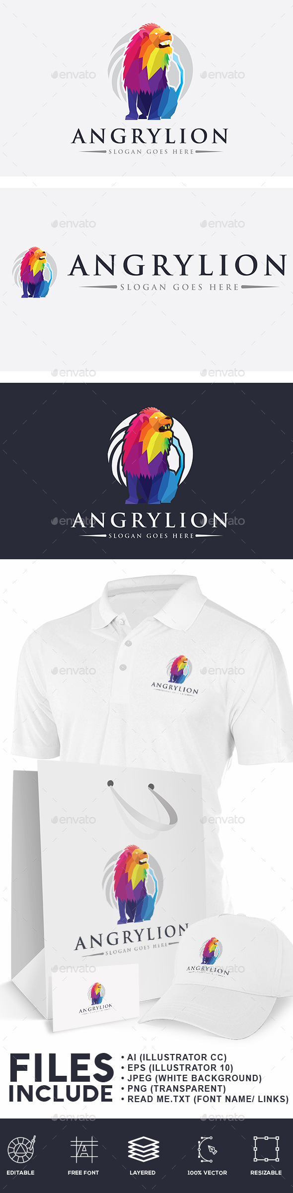 Angry Lion Logo - Animals Logo Templates