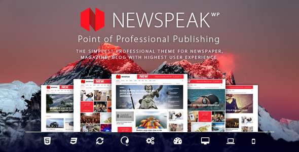 Newspeak - Responsive News / Magazine / Blog WordPress Theme + RTL - News / Editorial Blog / Magazine