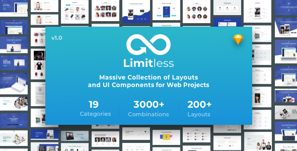 Limitless - Massive set of layouts and UI components for Sketch - Sketch Templates