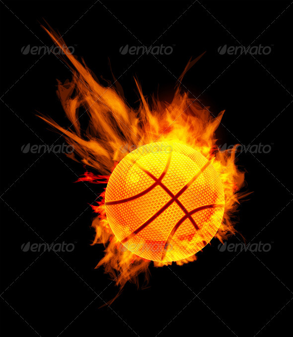Basketball Ball On Fire - Sports/Activity Conceptual