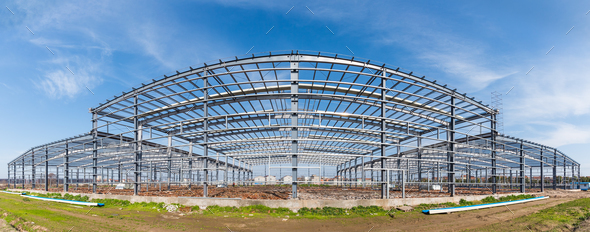 steel structure workshop panoramic view - Stock Photo - Images