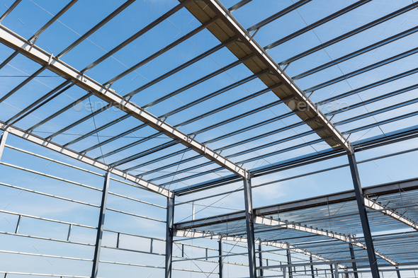 steel structure workshop closeup - Stock Photo - Images