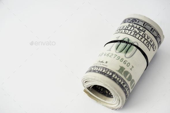 Closeup of money bundle isolated on white background - Stock Photo - Images