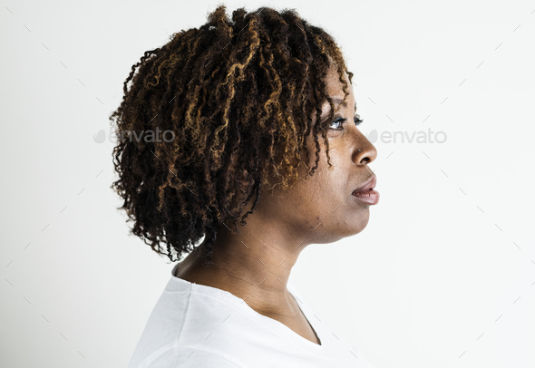 Portrait of black woman isolated - Stock Photo - Images