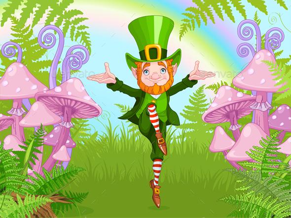 Lucky Dancing Leprechaun - Characters Vectors