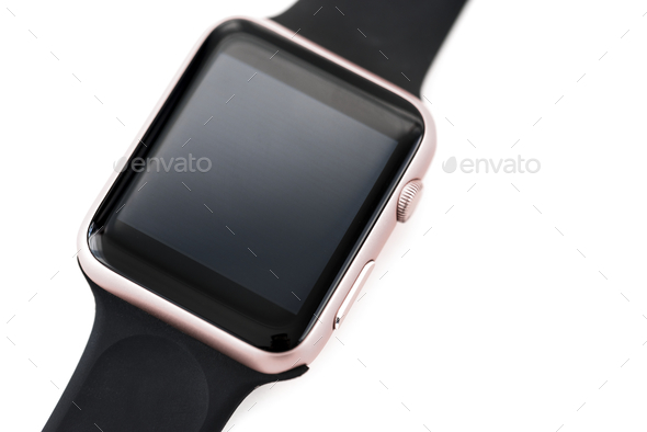 Closeup of mockup smartwatch isolated on whtie background - Stock Photo - Images