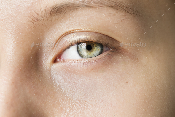 Portrait of white woman closeup on eyes - Stock Photo - Images