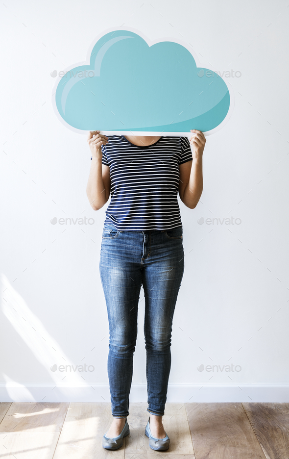 Woman with cloud network - Stock Photo - Images