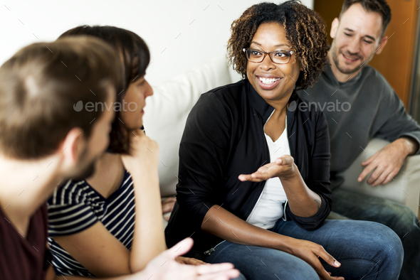 Friends talking together - Stock Photo - Images
