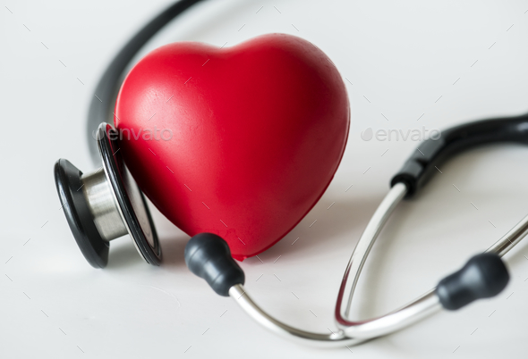 Closeup of heart and a stethoscope cardiovascular checkup concept - Stock Photo - Images