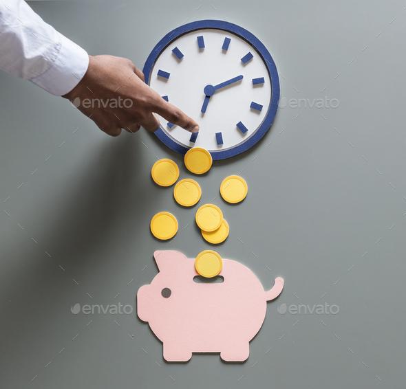 Piggy bank future money savings investment - Stock Photo - Images