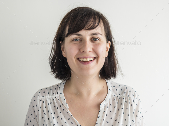 Portrait of white woman isolated - Stock Photo - Images