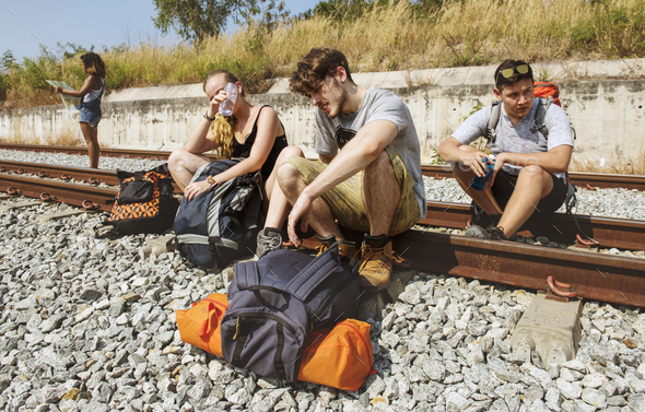Group of friends traveling together - Stock Photo - Images