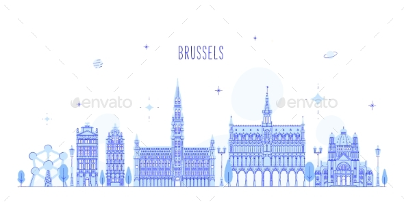 Brussel Skyline Belgium Vector City Buildings - Buildings Objects